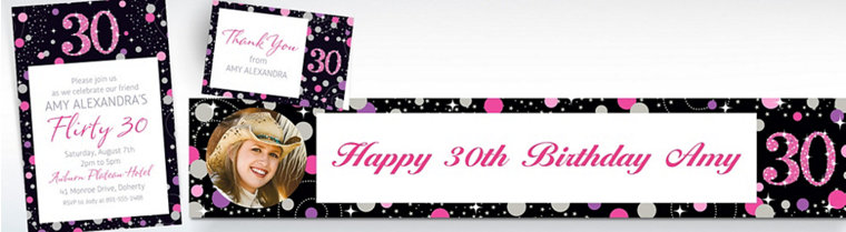 Custom Pink Sparkling Celebration 30th Invitations, Thank You Notes & Banners