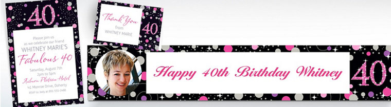 Custom Pink Sparkling Celebration 40th Banners, Invitations & Thank You Notes