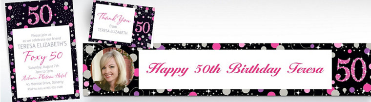 Custom Pink Sparkling Celebration 50th Banners, Invitations & Thank You Notes