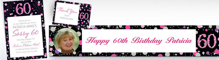 Custom Pink Sparkling Celebration 60th Banners, Invitations & Thank You Notes