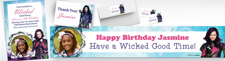 Custom Disney Descendants Banners, Invitations & Thank You Notes
