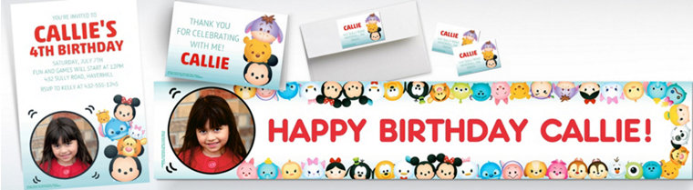 Custom Tsum Tsum Banners, Invitations & Thank You Notes