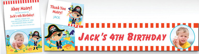 Custom Little Pirate Invitations, Thank You Notes & Banners