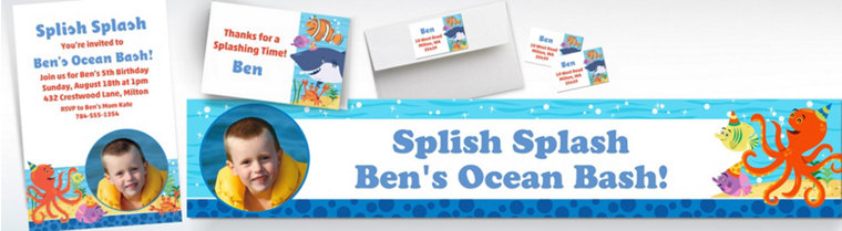 Custom Under the Sea Banners, Invitations & Thank You Notes