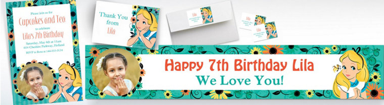 Custom Alice in Wonderland Banners, Invitations & Thank You Notes