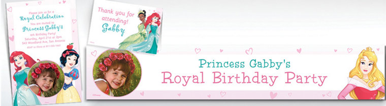 Custom Disney Princess Banners, Invitations & Thank You Notes