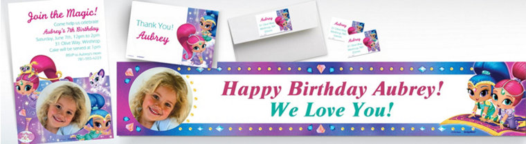 Custom Shimmer and Shine Banners, Invitations & Thank You Notes
