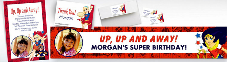 Custom DC Super Hero Girls Banners, Invitations & Thank You Notes