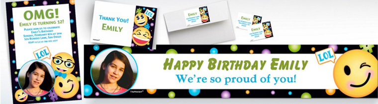 Custom Smiley Banners, Invitations & Thank You Notes