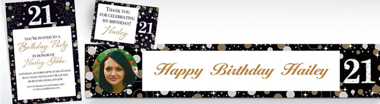 Custom Sparkling Celebration 21st Birthday Invitations, Thank You Notes & Banners