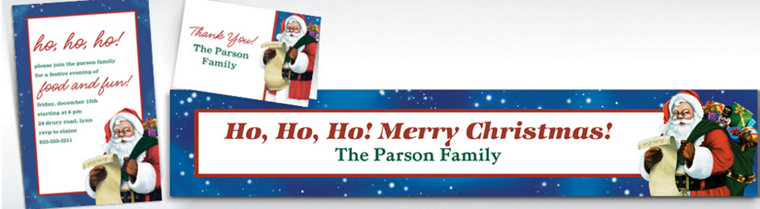 Custom Classic Santa Banners, Invitations & Thank You Notes
