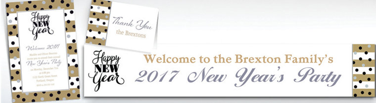 Custom Golden Pattern Happy New Year Banners, Invitations & Thank You Notes