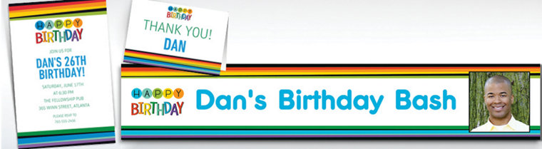 Custom Rainbow Birthday Banners, Invitations & Thank You Notes