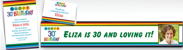 Custom Rainbow 30th Birthday Invitations, Thank You Notes & Banners