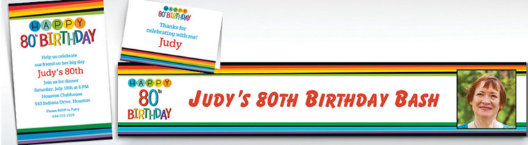 Custom Rainbow 80th Birthday Banners, Invitations & Thank You Notes