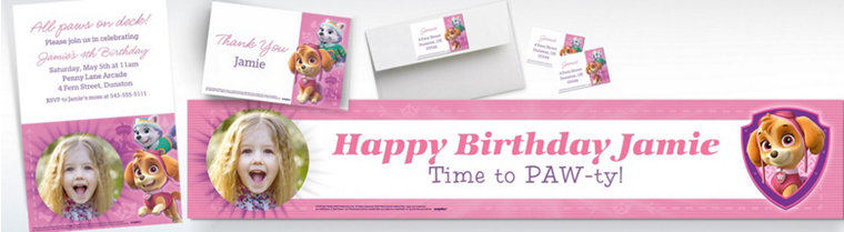 Custom Pink PAW Patrol Banners, Invitations & Thank You Notes