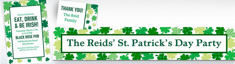 Custom Blooming Shamrocks Invitations, Thank You Notes & Banners