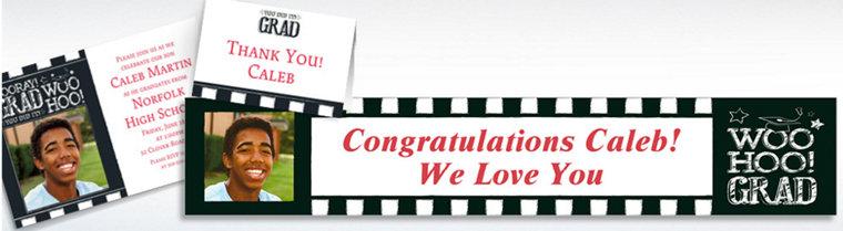 Custom Chalk Hooray Graduation Invitations, Thank You Notes & Banners