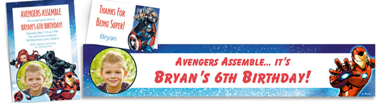 Custom Epic Avengers Invitations, Thank You Notes & Banners
