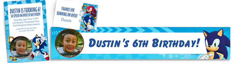 Custom Sonic the Hedgehog Invitations, Thank You Notes & Banners