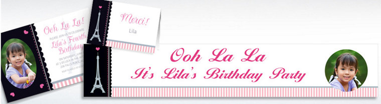 Custom Pink Paris Party Invitations, Thank You Notes & Banners