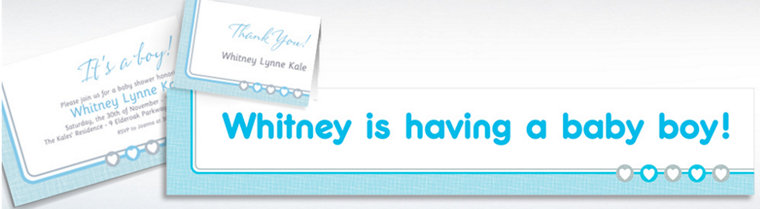 Custom Gray & Blue Hearts Invitations, Thank You Notes & Banners