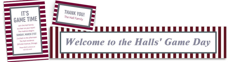 Custom Gray & Maroon Striped Invitations, Thank You Notes & Banners