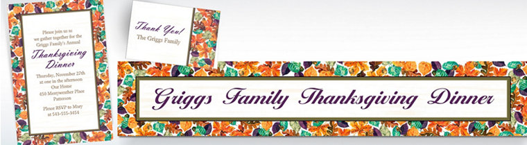Custom Autumn Leaves Invitations, Thank You Notes & Banners
