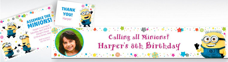 Custom Despicable Me 3 Invitations, Thank You Notes & Banners