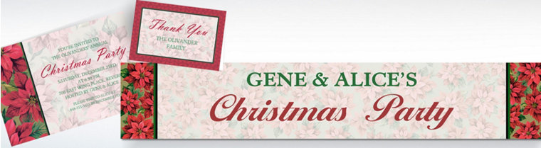 Custom Holiday Poinsettia Invitations, Thank You Notes & Banners