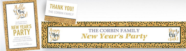 Custom Gold Glitter Hello New Year Invitations, Thank You Notes & Banners