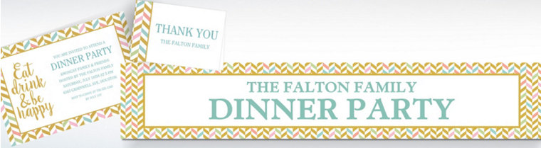 Custom Eat, Drink, & Be Happy Invitations, Thank You Notes & Banners
