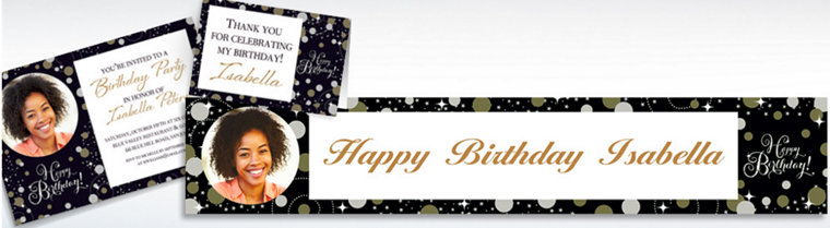 Custom Sparkling Celebration Invitations, Thank You Notes & Banners