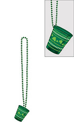 St. Patrick's Day Bling Shot Glass Bead Necklace