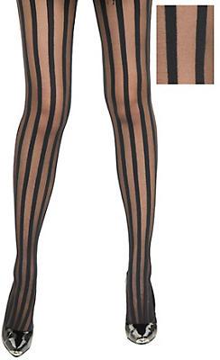 Adult Black Ribbon Stripe Pantyhose
