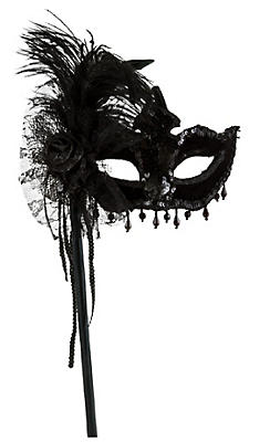 Black Magic Feather Mask with Handle