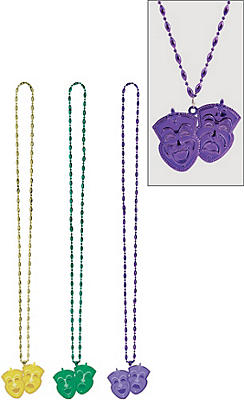 Comedy & Tragedy Mask Mardi Gras Pendant Bead Necklaces 3ct