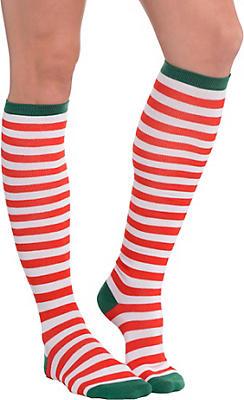 Candy Cane Striped Knee Socks