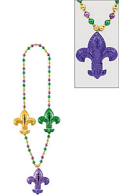 Jumbo Fleur-de-Lis Mardi Gras Bead Necklace