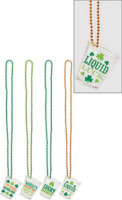 St. Patrick's Day Shot Glass Necklaces 4ct