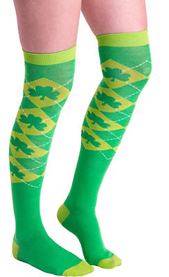 Green Argyle Shamrock Over-the-Knee Socks