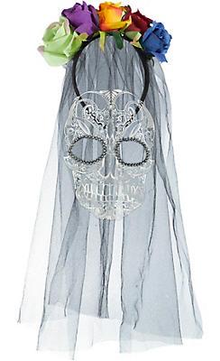 Sugar Skull Veil Headband - Day of the Dead