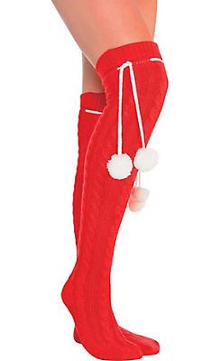 Red Christmas Pom-Pom Over-the-Knee Socks