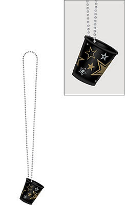 Black, Gold & Silver Star Shot Glass Bead Necklace