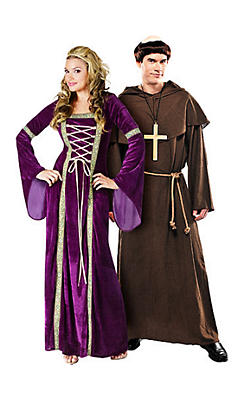 Renaissance Faire Lady and Medieval Monk Couples Costumes