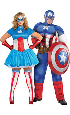 Adult American Dream & Captain America Couples Costumes Plus Size