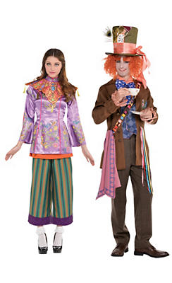 Adult Alice in Wonderland & Mad Hatter Couples Costumes - Alice Through the Looking Glass