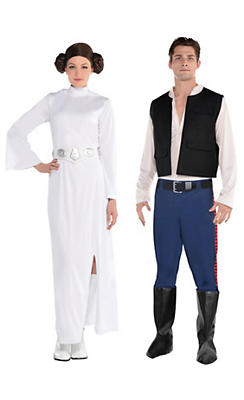 Adult Han Solo & Princess Leia Couples Costumes - Star Wars