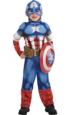 Little Boys Captain America Muscle Costume Classic