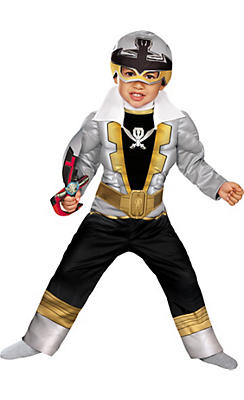 Toddler Boys Silver Ranger Muscle Costume - Power Rangers Super Megaforce